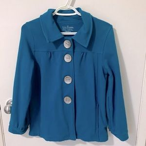 Neon Buddha Button Front Collar Jacket, Teal/Blue
